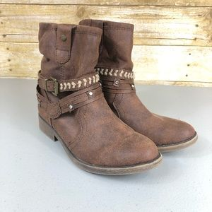 Justice Brown Faux Suede Boots Sz 6